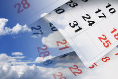 Calendar Pages and Clouds Stock Image