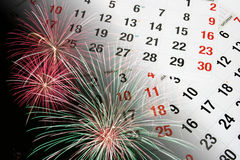 Calendar Pages and Fireworks Royalty Free Stock Photo