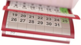 Calendar pages turneng in slow motion stock video footage