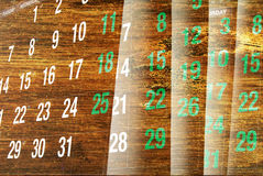 Calendar Pages with Wood Texture Stock Photo