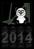 Calendar with panda. 2014 Calendar with panda - black background Vector Illustration