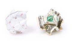 Calendar paper ball and dollar stock photography