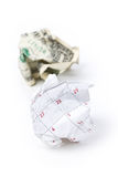 Calendar paper ball and dollar royalty free stock images