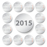 2015 calendar. Paper circle design Royalty Free Illustration
