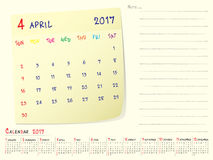 Calendar paper note April 2017. 2017 calendar paper note, April 2017 year vector calendar design Royalty Free Stock Image