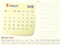 August 2018 Calendar Paper Note Design. 2018 Calendar Paper Note, August 2018 year vector calendar design Stock Image