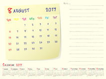Calendar paper note August 2017. 2017 calendar paper note, August 2017 year vector calendar design Stock Images