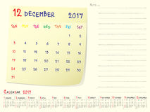 Calendar paper note December 2017. 2017 calendar paper note, December 2017 year vector calendar design Royalty Free Stock Photography