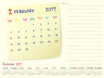 Calendar paper note February 2017. 2017 calendar paper note, February 2017 year vector calendar design Royalty Free Stock Photos