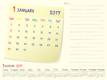 Calendar paper note January 2017. 2017 calendar paper note, January 2017 year vector calendar design Stock Photos