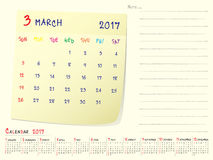 Calendar paper note March 2017. 2017 calendar paper note, March 2017 year vector calendar design Royalty Free Stock Photography