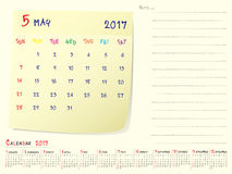 Calendar paper note May 2017. 2017 calendar paper note, May 2017 year vector calendar design Royalty Free Stock Photography