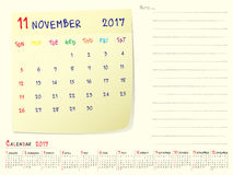 Calendar paper note November 2017. 2017 calendar paper note, November 2017 year vector calendar design Royalty Free Stock Photo