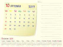Calendar paper note October 2017. 2017 calendar paper note, October 2017 year vector calendar design Stock Photos