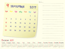 Calendar paper note September 2017. 2017 calendar paper note, September 2017 year vector calendar design Royalty Free Stock Photo