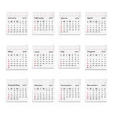2015 Calendar. On paper sheets with clips stock illustration