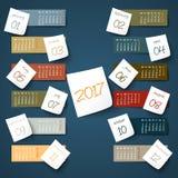 2017 calendar paper sticker. 2017 calendar color paper sticker Stock Photos