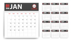 2018 calendar in paper stickers with shadow style. Grey and red. Event planner. All size. Vector illustration vector illustration