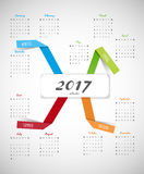 2017 calendar with paper stripes and seasons. Stock Photography