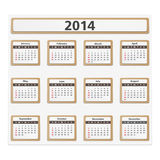 2014 Calendar. Paper 2014 calendar on white background Stock Image