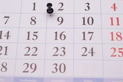 Calendar and paperclip Stock Photo