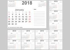 Calendar 2018 para EUA com lugar para notas Imagem de Stock Royalty Free