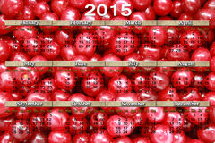 Calendar para 2015 no fundo vermelho das cerejas Imagem de Stock