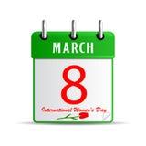 Calendar para o dia das mulheres internacionais ilustração royalty free