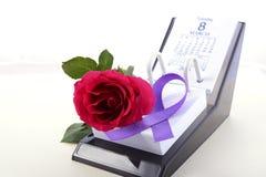 Calendar para o dia das mulheres internacionais Imagem de Stock