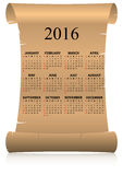 2016 calendar parchment. Illustration of 2016 calendar on parchment in italian language Stock Images