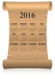 2016 calendar parchment Stock Images