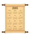 Calendar 2015. On parchment roll Royalty Free Stock Photo