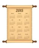 Calendar 2015. On parchment roll stock illustration