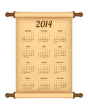 2014 calendar on parchment roll. Isolated on white background Stock Image