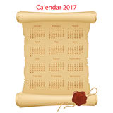 Calendar on parchment roll. 2017 Calendar on parchment roll with red wax seal Royalty Free Stock Images