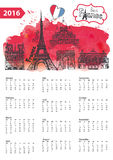Calendar 2016.Paris Landmarks panorama,watercolor. Calendar 2016 New year.Paris Famous landmarks panorama ,skyline.Watercolor splash ,doodle  sketchy.Notre Dame Stock Photos