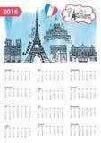 Calendar 2016.Paris Landmarks skyline,watercolor. Calendar 2016 New year.Paris Famous landmarks panorama ,skyline.Watercolor splash ,doodle  sketchy.Notre Dame Stock Photo