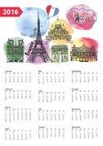Calendar 2016.Paris Landmarks skyline,watercolor. Calendar 2016 New year.Paris Famous landmarks panorama ,skyline.Watercolor splash ,doodle  sketchy.Notre Dame Royalty Free Stock Photos