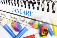 Calendar and Party Blowers Stock Photography