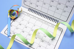 Calendar with Party Favors Royalty Free Stock Images