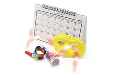 Calendar and Party Favors Royalty Free Stock Photography