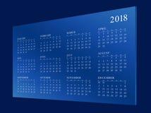 Calendar pelo ano 2018 Imagens de Stock Royalty Free