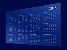 Calendar pelo ano 2018 ilustração royalty free