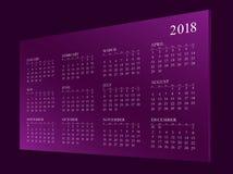 Calendar pelo ano 2018 ilustração do vetor