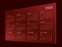 Calendar pelo ano 2018 Foto de Stock