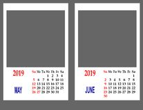 Calendar pelo ano 2019 foto de stock