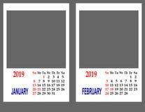 Calendar pelo ano 2019 imagens de stock