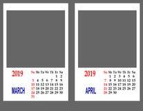 Calendar pelo ano 2019 fotografia de stock royalty free