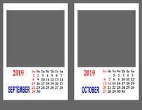 Calendar pelo ano 2019 imagem de stock royalty free