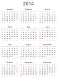 Calendar pelo ano 2014 Foto de Stock Royalty Free